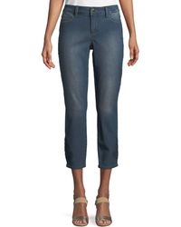 NYDJ - Alina Eyelet-embroidered Ankle Jeans - Lyst