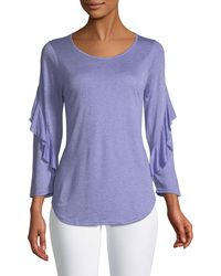 Three Dots - Ruffle-sleeve Draped Tee - Lyst