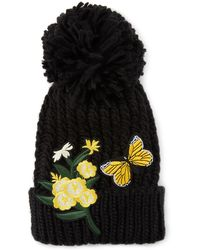 Neiman Marcus - Butterfly & Flower Appliqué Pompom Beanie - Lyst