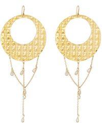 Devon Leigh - Textured Hoop Drop Earrings W/ Cubic Zirconia - Lyst