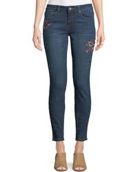 Velvet Heart - Sadie Floral-embroidered Skinny Jeans - Lyst