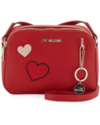 Love Moschino - Clutch Bag With Hearts & Girl Charm - Lyst