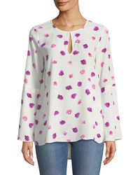 Cece by Cynthia Steffe - Beautiful Petals Crepe Bell-sleeve Blouse - Lyst