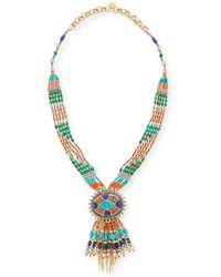 Devon Leigh - Beaded Fringe Pendant Necklace - Lyst