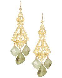Devon Leigh - Ornate Filigree Drop Earrings W/ Green Garnets - Lyst