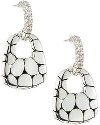 John Hardy - Kali Silver Lava Drop Earrings W/ White Topaz - Lyst