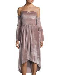 On The Road - Miranda Off-the-shoulder Velvet Dress - Lyst