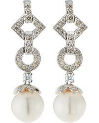 Belpearl - 14k White Gold Geometric Diamond & Pearl Drop Earrings - Lyst