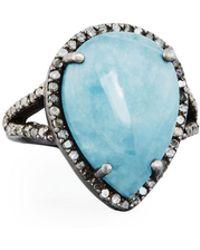 Bavna - Aquamarine & Diamond Teardrop Cocktail Ring Size 7 - Lyst