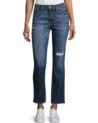 FRAME - Le High Straight Leg Frayed Waist Jeans - Lyst