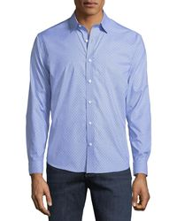 Neiman Marcus - Classic-fit Regular-finish Wear-it-out Textured Check Sport Shirt - Lyst