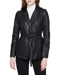 Marc New York - Glove Lamb Leather Belted Jacket - Lyst