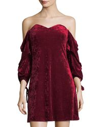 Romeo and Juliet Couture - Velvet Off-the-shoulder Dress - Lyst