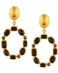 Gurhan - 24k Amulet Hue Black Diamond & Sapphire Drop Earrings - Lyst