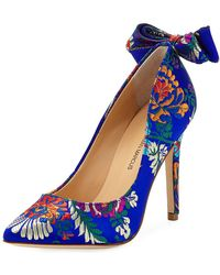 Neiman Marcus - Verity Printed Bow-back Pumps - Lyst