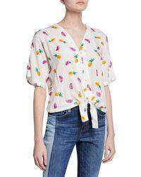 7a58a3689a Velvet Heart - High-low Tie-front Shirt W/ Fruit-print -