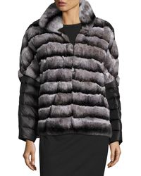 Gorski   Rabbit Fur Jacket W/ Removable Down Sleeves   Lyst