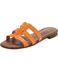 Sam Edelman - Berit Strappy Croc-embossed Flat Slide Sandal - Lyst