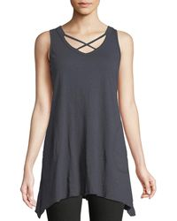 Heathered Ruffle-Trim Crossover Tank Allen Allen With Paypal For Sale UEPyapW6z