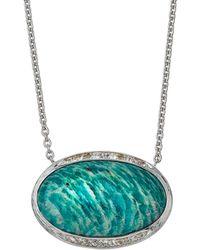Elizabeth Showers - Oval Pave Pendant Necklace - Lyst