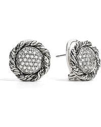 John Hardy - Classic Chain Medium Pave Diamond Stud Earrings 0.42tcw - Lyst