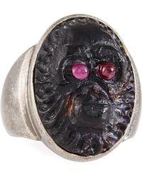 Valentino - Men's Bronze Oval Ring W/ Garnet - Lyst