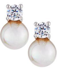 Majorica - 7mm Simulated Pearl & Crystal Stud Earrings - Lyst
