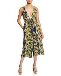 Lost + Wander - Isla Floral V-neck Cropped Jumpsuit - Lyst