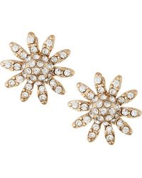 Lydell NYC - Crystal Pavé Floral Stud Earrings - Lyst
