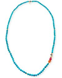 Akola - Long Turquoise Beaded One-strand Necklace 36 - Lyst