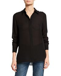 6c3a1c7a6ae137 Vince Short-sleeve Charmeuse Popover Blouse in Black - Lyst