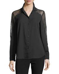 Tahari - Long-sleeve Crepe Button Down Shirt - Lyst