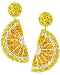 Kenneth Jay Lane - Lemon Seed Bead Dangle Earrings - Lyst