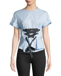 Philosophy | Corset-tied Short-sleeve Blouse | Lyst