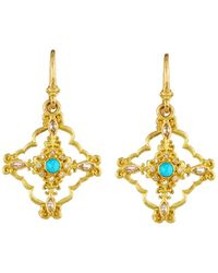 Armenta - Sueno 18k Turquoise & Diamond Scroll Drop Earrings - Lyst