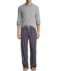 Psycho Bunny - Thermal Tee & Flannel Pants Lounge Gift Set - Lyst