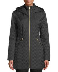 Laundry by Shelli Segal - Zip-front Quilted Mid-length Coat W/ Hood - Lyst