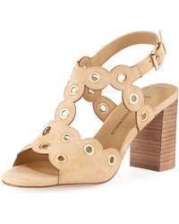 Neiman Marcus - Brice Suede Grommet-trim Sandals - Lyst