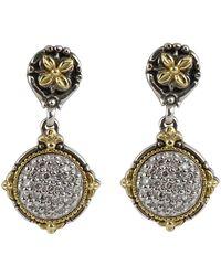 Konstantino - Asteri Pave White Diamond Round Double-drop Earrings - Lyst