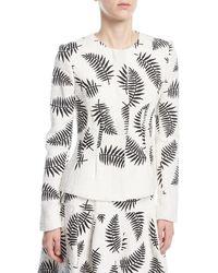 Oscar de la Renta - Leaf-embroidered Jacket - Lyst