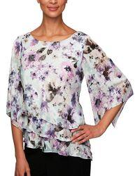 Alex Evenings - Floral 3/4-sleeve Burnout Asymmetric Tiered Blouse - Lyst