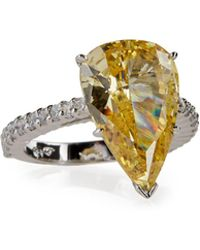 Fantasia by Deserio - Large Pear-cut Canary Crystal Ring - Lyst