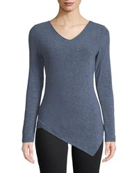 Metric Knits - Asymmetric-hem Long-sleeve Tee - Lyst