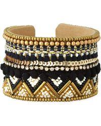 Panacea Beaded Cuff Bracelet W/ Crystals