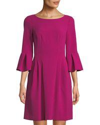 Eliza J - Pleated Crepe Fit & Flare Dress - Lyst