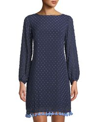 9e2887318b Sail To Sable - Swiss Dot Long-sleeve Sheath Dress W  Tassel Hem -