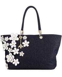 Christian Siriano - Michelle Denim Flower Tote Bag - Lyst