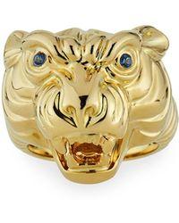 Sydney Evan 14k Tiger Ring W/ Sapphires Size 7