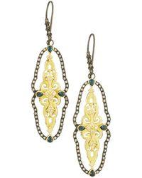 Armenta - Two-tone Open Scalloped Drop Earrings - Lyst