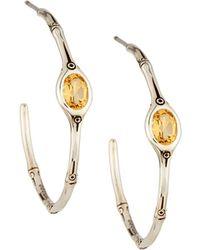 John Hardy | Honey Citrine Bamboo Hoop Earrings | Lyst